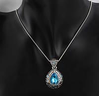 Красивый женский кулон с большим голубым камнем!, фото 1
