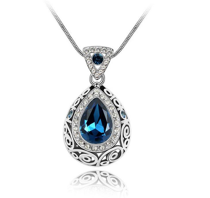 Красивый женский кулон с большим синим камнем!
