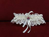 Свадебная подвязка для невесты айвори бежевая кружевная