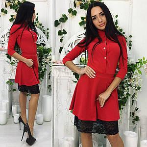 Платье с кружевным подолом, красный