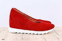 Женские туфли, из натуральной замши, на танкетке, 36-40 р-р