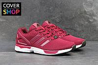 Кроссовки мужские Adidas ZX Flux, материал - плотная сетка, цвет - бордовый