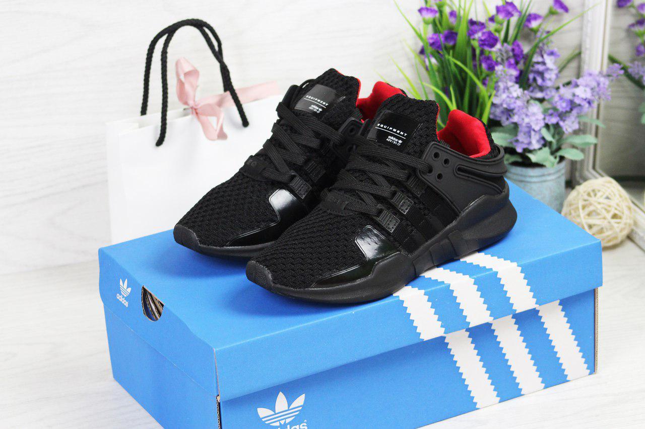 Женские кроссовки Adidas Equipment adv 91-17 (черные), ТОП-реплика