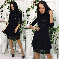 Платье с кружевным подолом, черный