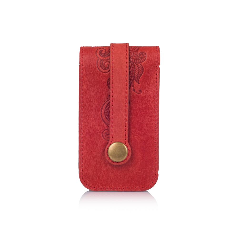 """Красивая красная ключница с натуральной матовой кожи с авторским художественным тиснением """"Mehendi Classic"""""""