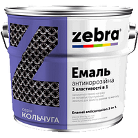 """Эмаль антикоррозионная 3 в 1 """"Зебра"""" серия Кольчуга чёрная 2,0 кг"""