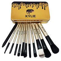Набор кистей для макияжа Kylie Bronze 12шт-Профессиональный цвета в ассортименте