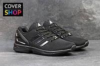 Кроссовки мужские Adidas ZX Flux, материал - плотная сетка, цвет - черный