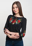 Трикотажная вышиванка женская, черная, арт. 5125