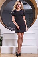 Приталенное женское короткое платье из костюмной ткани, чёрное, размер 48