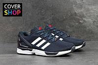 Кроссовки мужские Adidas ZX Flux, материал - плотная сетка, цвет - темно-синий