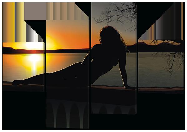 Картина модульная Девушка и закат 166*114 см