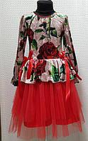 Платье детское София пудра+красное для девочки мраморный велюр+евросета 116,122,128,134см баска ленти троянди