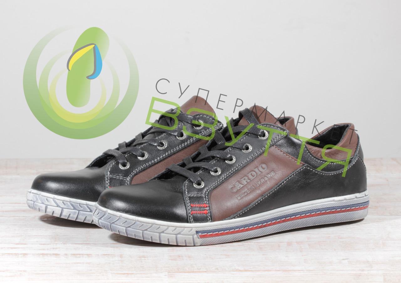 Кожаныемужские кроссовки Cardio 22 чер  44 размер
