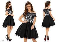 Платье пышное короткое вечернее хвост габардин+фатиновый подьюбник 42,44,46