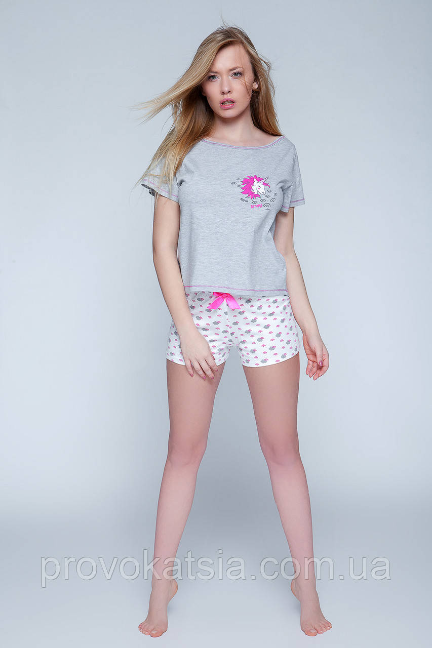 b153a48ac0214 Женская пижама с единорогом футболка, шорты Pony pizama Sensis - Интернет- магазин эротического и