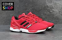 Кроссовки мужские Adidas ZX Flux, материал - плотная сетка, цвет - красный