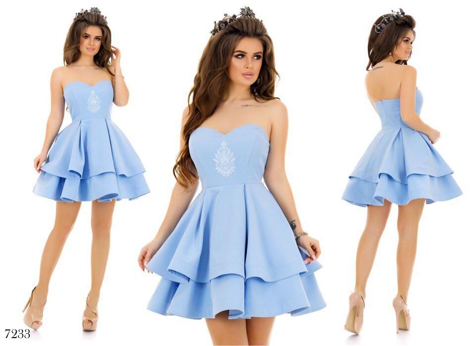 95e08f3a227 Платье пышное короткое вечернее отрытые плечи костюмка 42