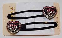 Заколки для волос тик-так, сердечки, розовые стразы, зажимы(2 шт) 19_5_1a7
