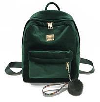 Большой бархатный \ велюровый рюкзак с помпоном для модных девушек, фото 3