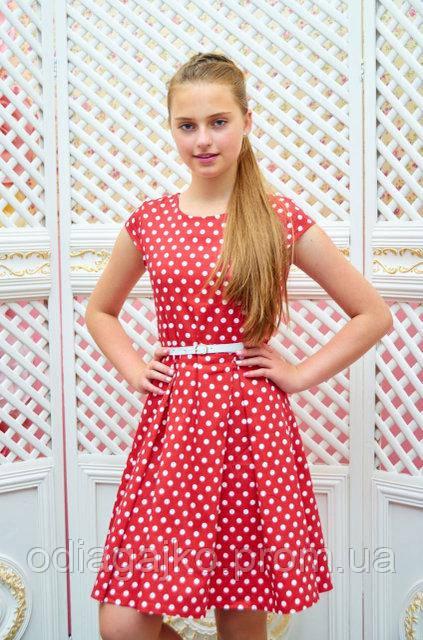 d3caf8170bc Платье детское Миледи красное в белый горох подростковое для девочки  134