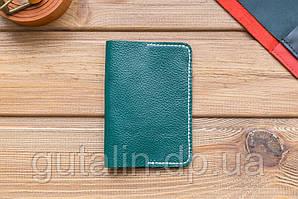 Обложка на паспорт ручной работы из натуральной кожи цвет зеленый