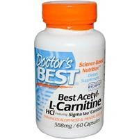 Ацетил -L- карнитин, Doctors Best,  Гидрохлорид, 588 мг, 60 капсул