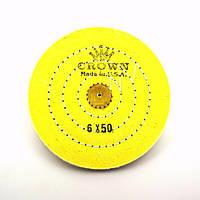 Круг муслиновый CROWN 150 мм 6х50 желтый