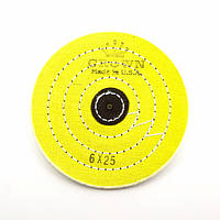 Круг муслиновый CROWN 150 мм 6х25 желтый (кожаный пятак)