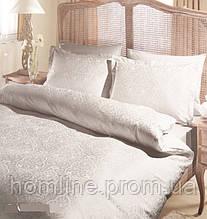 Постельное белье Tac жаккард Gardenia серое евро размер