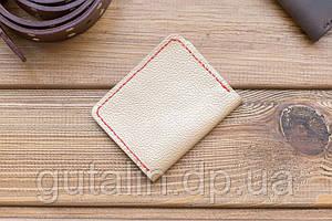 Обложка на пластиковый паспорт (права) ручной работы из натуральной кожи цвет бежевый с красной прошивкой
