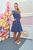 Платье детское Миледи темно-синее в белый горох подростковое для девочки 134,140,146,152см пояс
