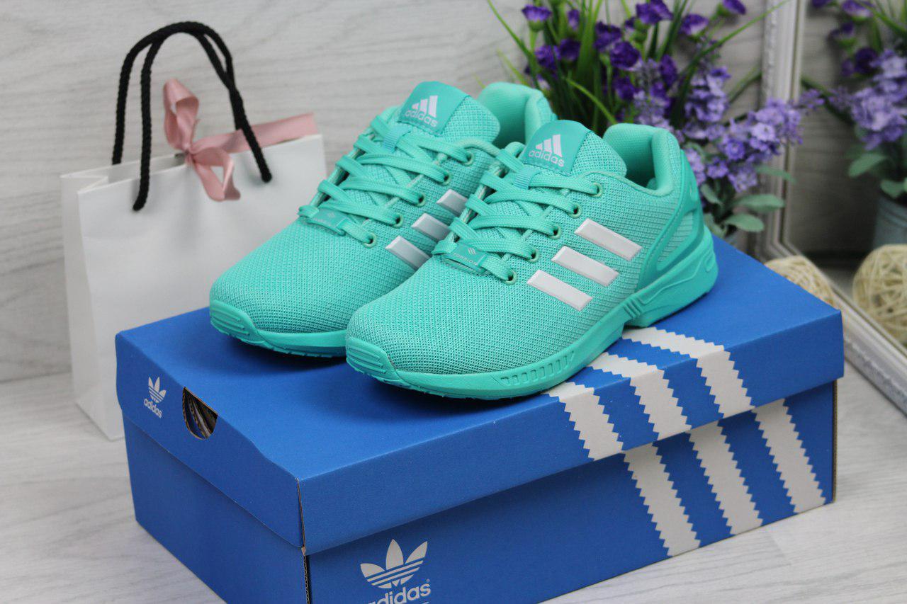 Кроссовки женские Adidas Flux из сетки летние яркие молодежные (мятные), ТОП-реплика