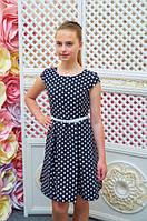 Платье детское Миледи черное в белый горох подростковое для девочки 134,140,146,152см пояс