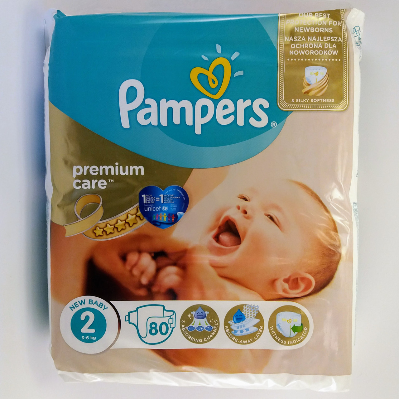 Подгузник Pampers premium care Newborn 2, 3-6 кг 80шт