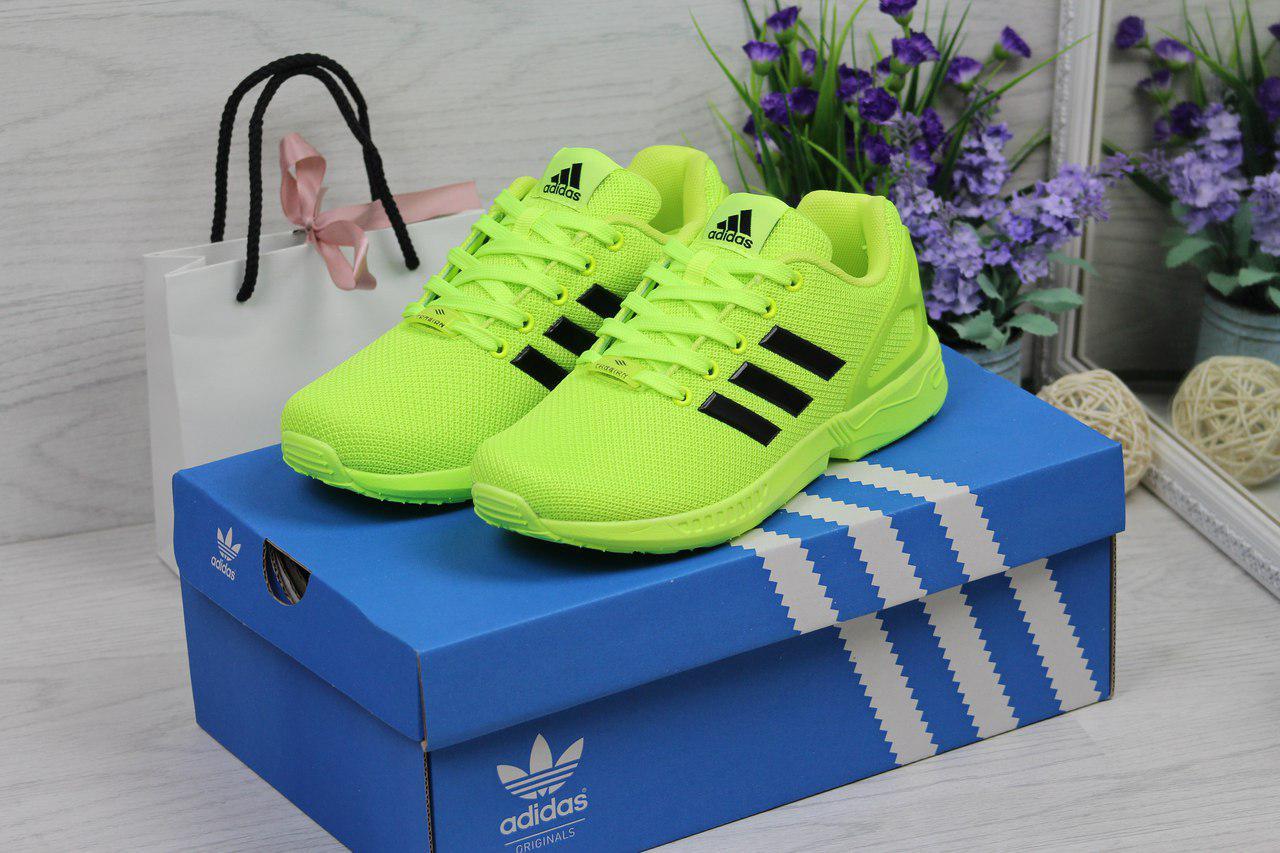 Кроссовки женские Adidas Flux (салатовые), ТОП-реплика