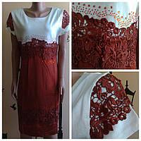 Платье Кружево 2879 коричневый 50р