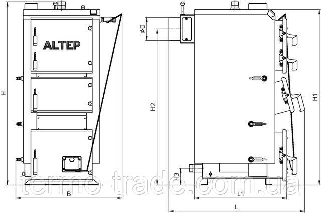 Габаритные размеры котла Альтеп DUO (КТ-2ЕМ) 17-38 кВт