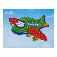 """Мозаїка з паєтками """"Веселі пінсіки"""" Набір для дитячої творчості """"Літачок"""""""