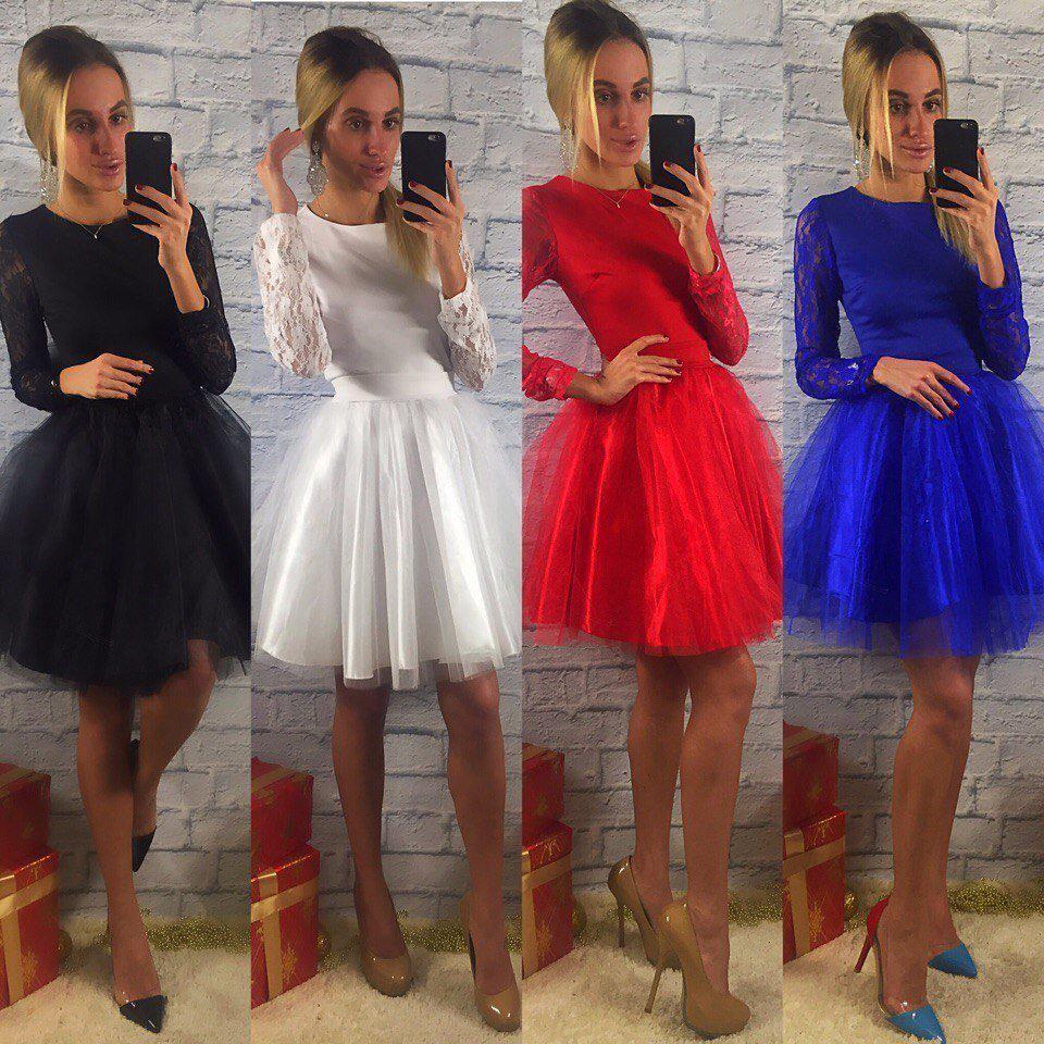 Платье Балерина фатиновая пышная юбка гипюр
