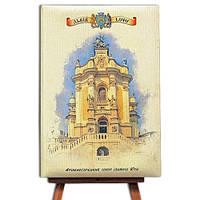 Блокнот со стикерами Post-it,в твердой обложке «Львів-Собор святого Юра» в комплекте с чехлом
