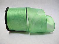 Лента с проволочным краем 4 см Зеленая
