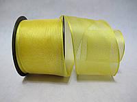 Лента с проволочным краем 4 см Желтая