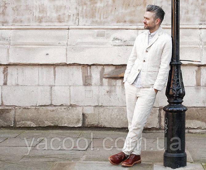 5519fa2a6e3c4 Классный мужской молодежный стильный костюм из натурального льна, фото 1