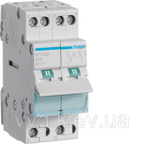 Модульный переключатель вводов I-0-II общая точка сверху, 2-пол., 25А/230В Hager