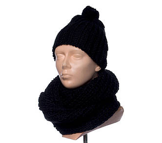 Комплект шапка + шарф зимний женский черного цвета