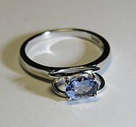 Необычное кольцо с голубым танзанитом 0.67ct (7х5мм)