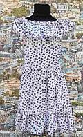 Платье детское Крестьянка белое в бант подростковое для девочки 134,140,146см рюш на груди