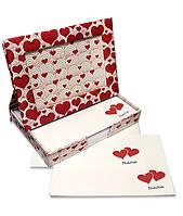 Фоторамка - диспенсер 9х13см FrameNote, с блоком бумаги для заметок «Сердечки»