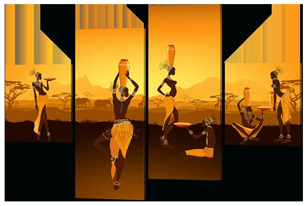 Модульная картина Девушки Африканского племени